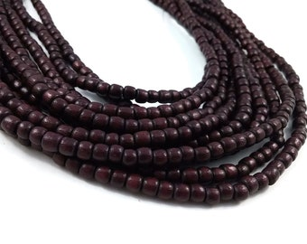 100 Tube Wooden Beads 4x5mm - Burgundy