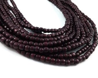 100 Tube Wooden Beads 4x5mm - Burgundy