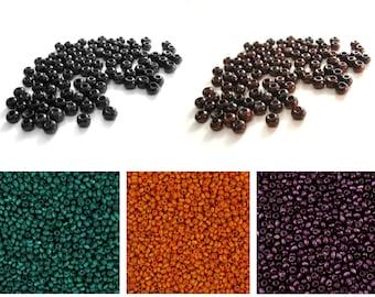 Wood Beads 3mm round 100pcs - Brown, black, emerald green, orange or purple