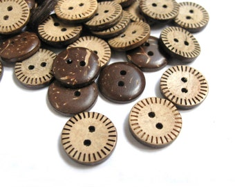 10 Brown Coconut Shell Buttons 15mm - Stitch