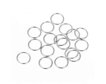 Hypoallergenic Silver JumpRings 12, 14 or 16mm - 100pcs Stainless Steel Opened Jump Ring
