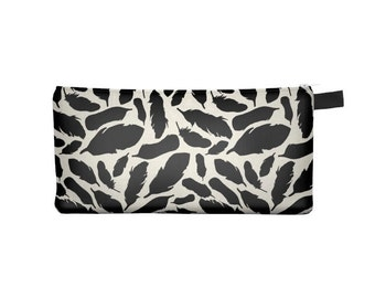 Black Feather Pencil Case - Free shipping USA and Canada