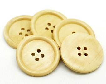 "Natural wooden buttons - 3 Off white big wooden buttons 40mm (1 5/8"")  #BB142A"