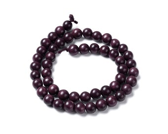 Burgundy beads 6, 8 or 10mm - Natural Mala Wooden Beads