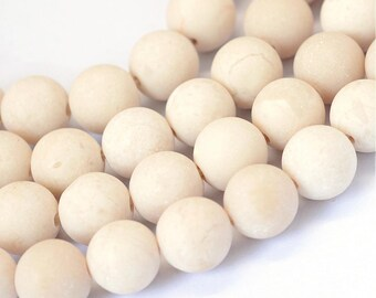 Frosted Natural Fossil Round Beads Strands 6 or 8mm - Ivory