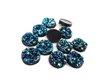 12mm blue druzy round resin cabochons - set of 12 cabochons