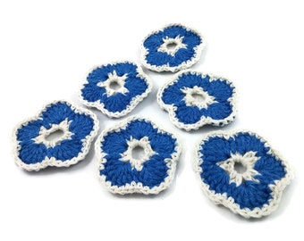 Crochet Flowers - 6 Handmade Embellishments 55mm - Blue