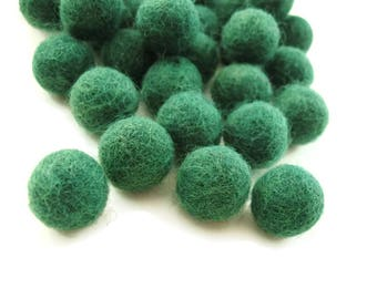 Felt Balls Green - 20 Pure Wool Beads - Forest Green Shade -   (W211)