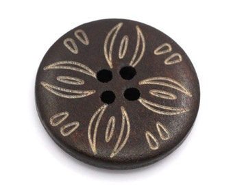 Dark brown Wooden Sewing Buttons 25mm - set of 6 natural wood button - Tribal
