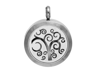 Stainless Steel Aromatherapy Essential Oil Diffuser Locket Pendants - Tree