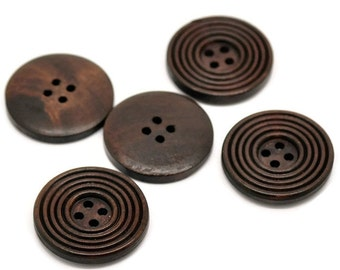 Dark coffee brown Wooden Sewing Buttons 30mm - set of 6 natural circle wood button