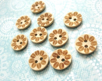 10 Coconut Shell Buttons 12mm - Fossil Leaf (BC624)