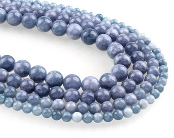Blue Natural Aquamarine Round Stone Beads Strands 6 or 8mm