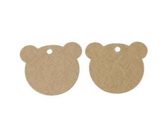 Bear gift tags - blank kraft paper tags - Set of 10 or 50