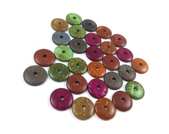 30 Donuts coconut wood beads mixed colors 15mm