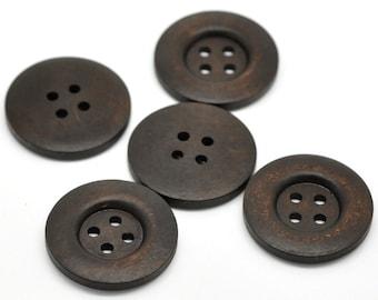"Dark Brown button - 4 wooden buttons 35mm (1 3/8"")"
