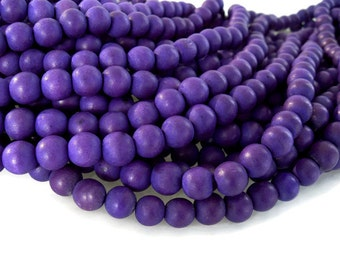 Purple wood round beads - Purple Wooden Beads 10mm - 40pcs