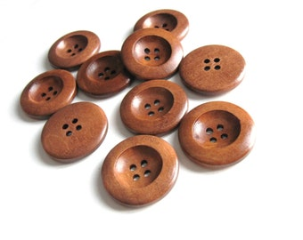 1 inch wooden buttons 6x chocolate brown wooden buttons