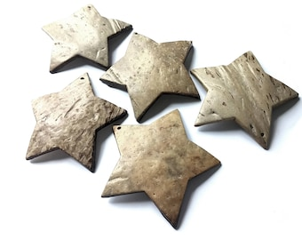 ON SALE! 5 Big Star Coconut Shell Pendants 58mm