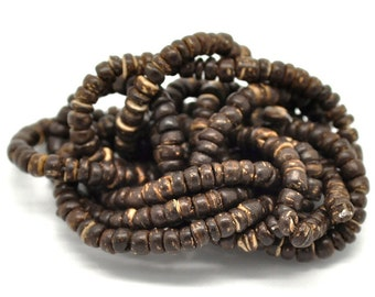 "Natural Coconut Wood Beads 5mm - 1 strand 40cm (15-3/4"")"