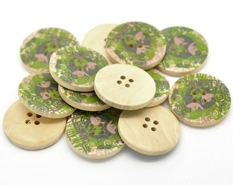 Olive Green and Pink Flower Pattern Wooden Sewing Buttons 3cm - Natural wood button set of 6