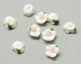 8mm porcelain cabochons - set of 20 white flower cabochons