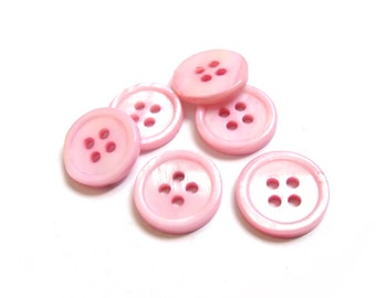 Mother of Pearl Shell Buttons 15mm - set of 6 eco friendly pink buttons
