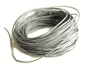 Waxed cotton cord 1mm - Grey 10 meters / 32.8 ft