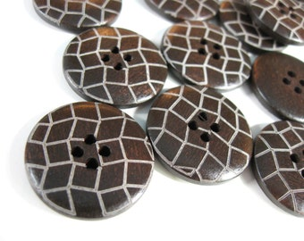 Dark brown Wooden Sewing Buttons 25mm - set of 6 natural wood button - Lattice (BB128D)