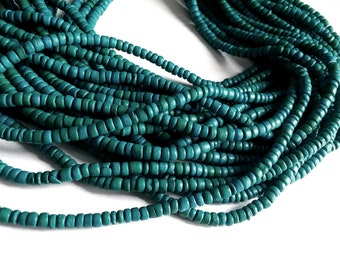 Emerald green coconut bead 130 wood Beads - Coconut Rondelle Disk Beads 4-5mm