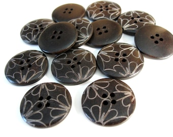 Dark brown Wooden Sewing Buttons 25mm - set of 6 natural wood button - flower petal