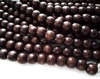 Brown wood round beads 12x11mm - 30pcs