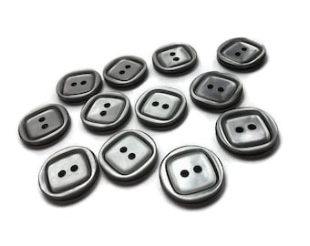Grey plastic sewing buttons - set of 12 vintage craft buttons 19mm