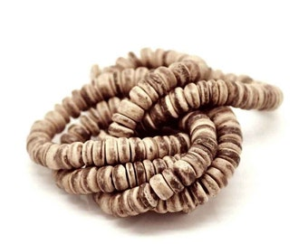 Natural Coco wood Beads - Eco Friendly Donuts Rondelle Disk Beads 8mm - 100pcs