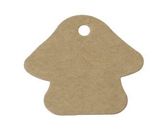 Mushroom gift tags - blank kraft paper tags - Set of 10 or 50