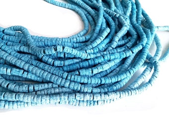 150 coconut beads marblized aqua blue splashing 5-6mm  (PC220AA)