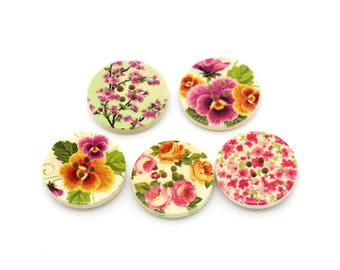 Spring Flowers wood sewing buttons - 5 Mixed Patterns craft buttons