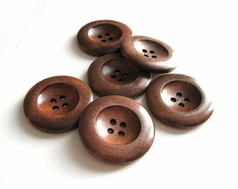 Dark Chocolate Brown Wooden Sewing Buttons 35mm - set of 6 natural wood button