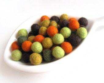 Felt Balls Fall Color Mix - 50 Pure Wool Beads 10mm