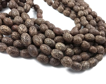 10 Buddhist Beads, Bodhi, Oval, original color, 11x13mm