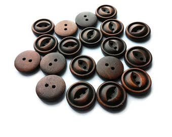 Brown wooden button 20mm - set of 6