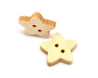Star button - 10 Wooden craft buttons 18x17mm