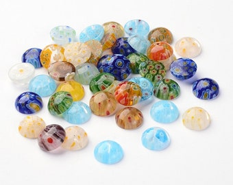 12mm mixed glass cabochons - set of 50 Millefiori round dome cabochons