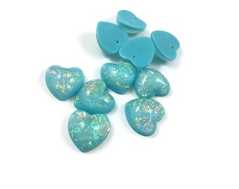 Resin Rainbow Color Aurora Borealis Charms Heart Blue