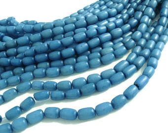 ON SALE! Sky Blue Buri Seed Tube Beads 11x7mm