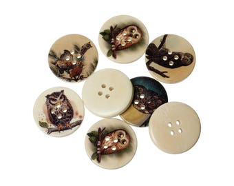 Owl wood sewing buttons - 6 Mixed Patterns craft buttons