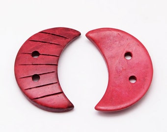 Crescent Moon coconut red eco friendly Button set of 4
