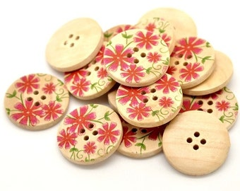 Red Pink Primrose Flower Pattern Wooden Sewing Buttons 30mm - set of 6