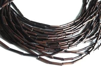"Bamboo Wood Tube Beads - Eco Friendly Brown Tube Beads 15mm - 16"" strand"