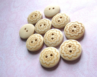 Wooden button - Brown Flower Pattern 2 Holes Unfinished Wood Sewing Buttons Natural Color 20mm - set of 12
